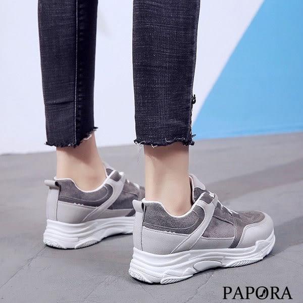 PAPORA異材質綁帶休閒老爹布鞋KQ7555灰/粉(偏小)