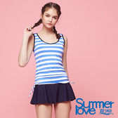 【Summer Love 夏之戀】加大碼海軍風兩件式泳衣(S18732)