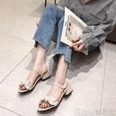 港味復古涼鞋夏季韓版平底花邊涼拖溫柔風仙女鞋子潮   歌莉婭