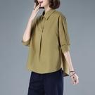 棉麻七分袖襯衫女2021年春裝新款寬鬆休閒設計感小眾上衣襯衣媽媽 設計師
