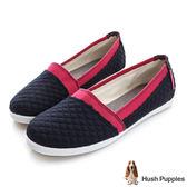 Hush Puppies 菱格鋪棉咖啡紗TiTi懶人鞋-深藍