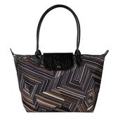 Longchamp幾何風格錯視條紋長提把小型水餃包(卡其色)480537-292