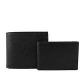 【COACH】防刮皮革素面對開短夾(附證件夾)(黑色)F59112 BLK