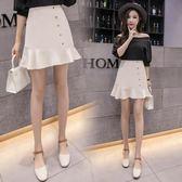 夏韓版半身裙高腰顯瘦荷葉邊不規則魚尾包臀短裙1816GD4F-431-D依佳衣