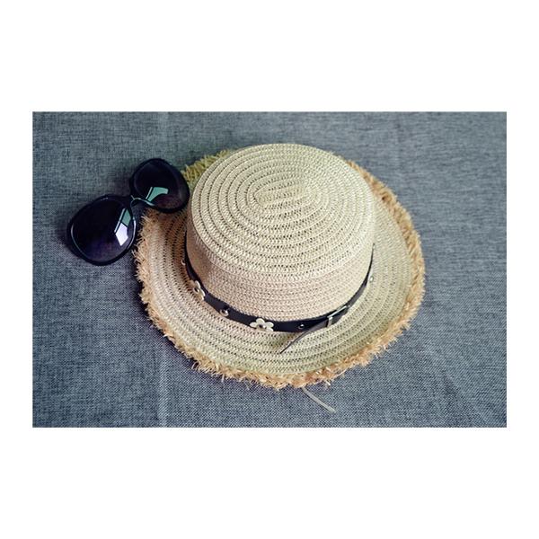 草帽 花朵 皮帶釦 不修邊 遮陽 沙灘 草帽【NC009】 BOBI  04/27