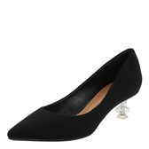 中跟鞋女 尖頭中跟鞋 絨面工作淺口歐美時裝女鞋單鞋新款時尚水晶跟韓版女鞋子《小師妹》sm3461