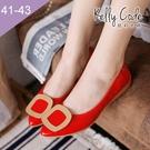 大尺碼女鞋-凱莉密碼-新款時尚簡約金屬方...