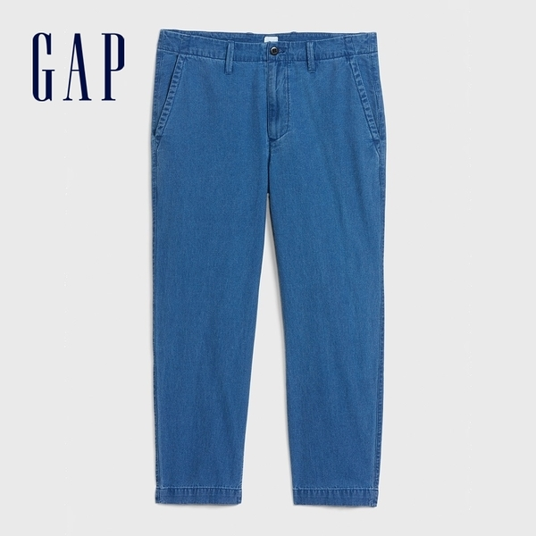 Gap男裝棉質舒適直筒型休閒褲574073-織紋靛藍