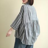 棉麻襯衫 豎條紋七分袖襯衫 亞麻單排扣上衣/2色-夢想家-0214