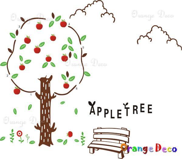 壁貼【橘果設計】蘋果樹 DIY組合壁貼/牆貼/壁紙/客廳臥室浴室幼稚園室內設計裝潢