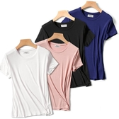 莫代爾圓領短袖t恤女夏季白色修身打底內搭大碼素色短款上衣ins潮 童趣屋