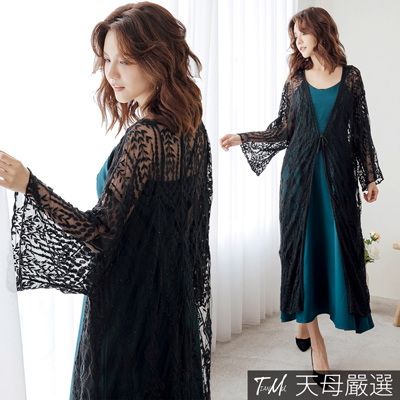 【天母嚴選】開襟綁帶V領長版蕾絲罩衫外套