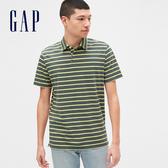 Gap男裝 棉質舒適橫條紋短袖POLO衫 532437-復古藍綠色