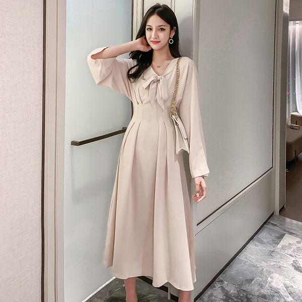 VK旗艦店 韓國風復古蝴蝶結領收腰顯瘦氣質長袖洋裝