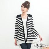 Victoria 雪紡層次條紋外套-女-白