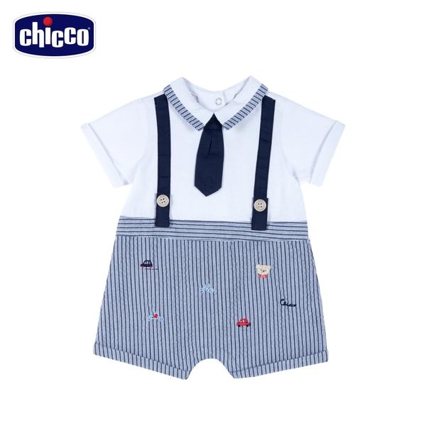 chicco駕駛小熊-假兩件式領帶直條短袖兔裝