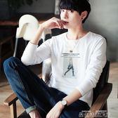熱銷長袖T恤男士韓版秋季修身上衣服青少年打底衫圓領印花潮流男體恤