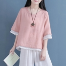 假兩件上衣 清裊棉麻上衣女雙層套盤扣襯衣禪意茶服中國風改良文藝素衣 維多原創