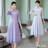 旗袍式洋裝2020夏新款春女中袖中長款年輕款新式改良中國風XL3724【東京衣社】