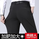 西裝褲 南極人高彈力加肥加大西褲男寬鬆大碼商務休閒褲加絨加厚胖子男褲 夢藝