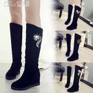 長靴 馬丁靴女學生韓版百搭內增高長筒棉靴長靴女靴子「Chic七色堇」