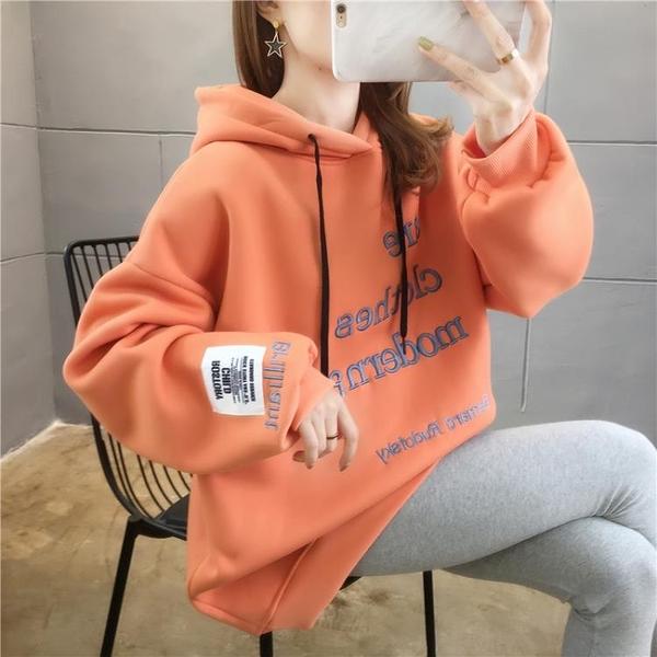 新品特價 衛衣女秋冬季韓版寬松bf慵懶風加絨加厚中長款百搭ins超火外套