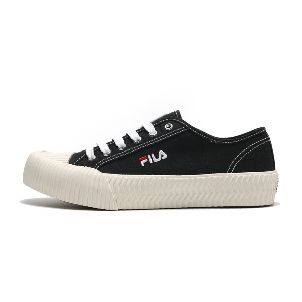 FILA 休閒鞋 黑 帆布鞋 餅乾鞋 情侶鞋 男女 (布魯克林) 4C320T001