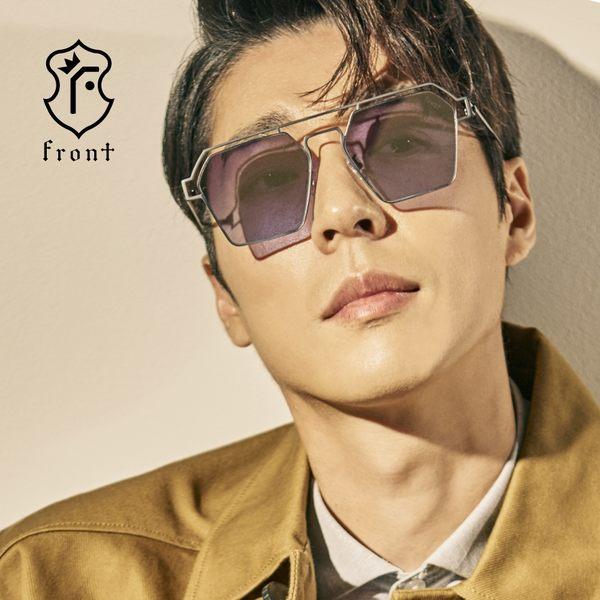 【Front 太陽眼鏡】DNA-四色可挑選#時尚造型雙槓太陽眼鏡/墨鏡