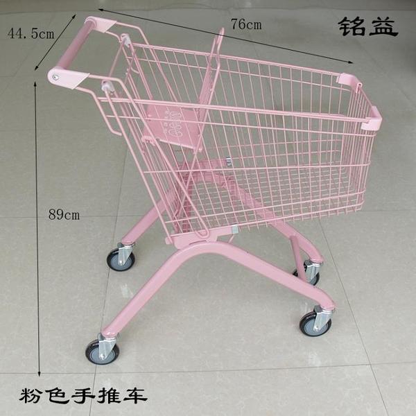 購物車 粉色雙層超市購物車商場家用KTV手推車拍照道具網紅店裝飾小推車【八折搶購】