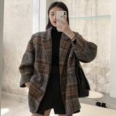 呢子大衣女流行冬裝韓版復古中長款西裝氣質寬鬆格子毛呢外套 雅楓居