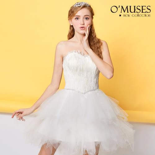 OMUSES 全尺碼 *天然羽毛不規則伴娘婚紗禮服 *--------白色下標區