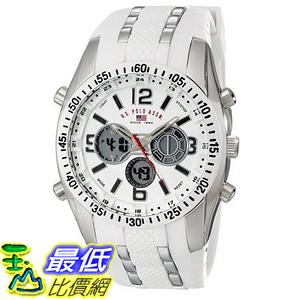 [美國直購] U.S. Polo US9282 手錶 Assn. Sport Men s Silver-Tone Watch with White Silicone Band