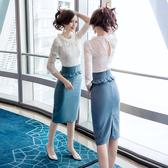 超殺29折 韓國風名媛蕾絲時尚荷葉收腰包臀套裝短袖裙裝