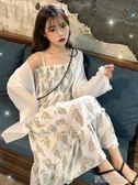 連身裙2019夏季新款收腰顯瘦碎花吊帶裙超仙雪紡連身裙學生氣質仙女裙子 曼莎時尚