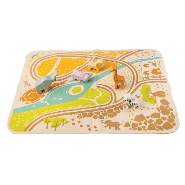 【美國Tender Leaf Toys】非洲動物遊戲組(積木遊戲墊組合)