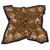 Christian Dior 黃金牡丹古典花紋緞面領帕巾(藍) 179010