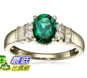 [美國直購] 14k Yellow Gold, Created Emerald, and Diamond (1/6 cttw, H-I Color, I2-I3 Clarity) Ring, Size 7 戒指