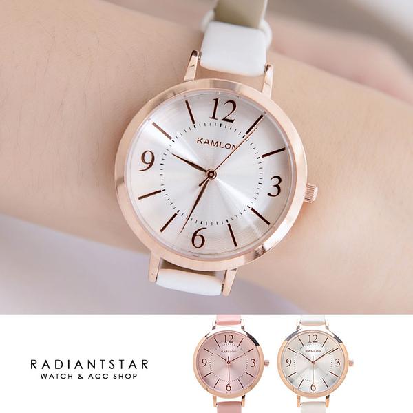 KAMLON甜蜜泡泡簡約放射紋真皮手錶【WKA3002】璀璨之星☆