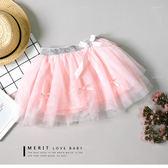 粉色緞帶蝴蝶結澎澎蛋糕紗裙 內安全褲 銀色褲頭 甜美 公主風 哎北比童裝