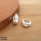 §海洋盒子§簡單質感亮面環圈造型925純銀針式易扣耳環.素銀色