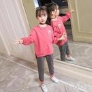 運動套裝秋裝2019新款秋款中大童洋氣女童衛衣時尚休閒兩件套 yu6951【艾菲爾女王】