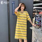 大尺碼 女裝2019夏裝新款胖mm仙女人顯瘦減齡洋氣遮肚短袖T恤連身裙