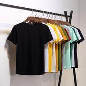 潮男T恤 男士短袖t恤打底衫圓領純色體恤純白色黑色修身半袖夏季男裝衣服 潮先生