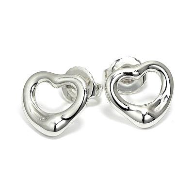 Tiffany & Co. Open Heart鏤空心形純銀耳環