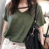 限定款竹節棉短袖T恤女新品夏季免運正韓V領百搭寬鬆大尺碼素色T恤上衣潮