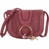SEE BY CHLOE HANA 迷你款 編織金屬圈拼接麂皮斜背包(紅梨色) 1840370-54