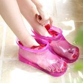 便攜泡腳足浴桶家用塑膠加高足浴盆長筒靴按摩穴位足浴高筒泡腳鞋女『CR水晶鞋坊』