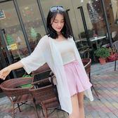 夏季春新款長袖針織衫開衫上衣女款防曬衫寬鬆透氣中長款時尚「夢娜麗莎精品館」