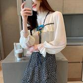 韓版蕾絲立領泡泡袖打底衫雪紡衫女長袖秋季款襯衣1080#GT653-A依佳衣