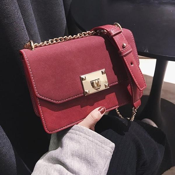 側背包 包包女2019新款歐美時尚鎖扣錬條小方包簡約單肩斜挎女包